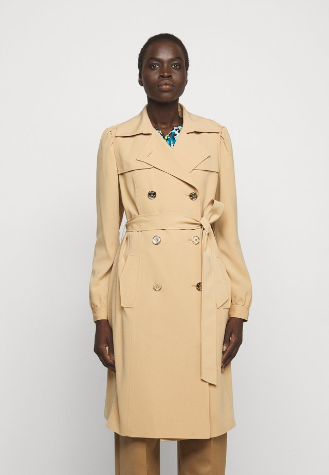 DOUBLE BREASTED PUFF SLEEVE DRAPERY - Trench - khaki