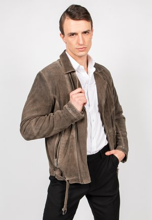 G.SUEDE-FN - Leather jacket - stone