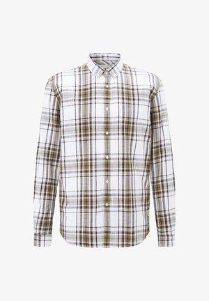 Shirt - white olive check
