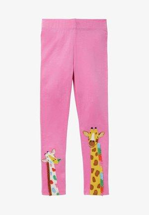 MIT APPLIKATION - Leggings - Trousers - pflaumenblütenrosa giraffe
