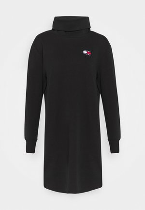 BADGE MOCK NECK DRESS - Vestito estivo - black