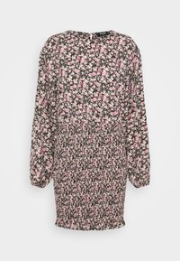 FLORAL SHIRRED LONG SLEEVE MINI DRESS - Day dress - black