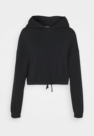 CROPPED HOODIE WITH ELASTIC HEM - Bluza z kapturem - black