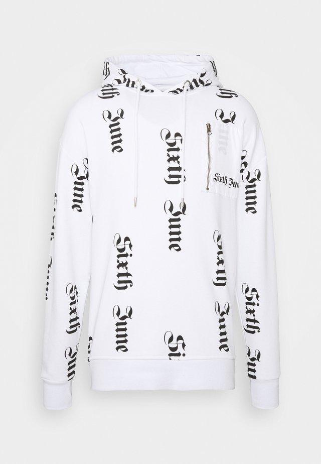 ALLOVER GOTHIC HOODIE - Sweatshirt - white