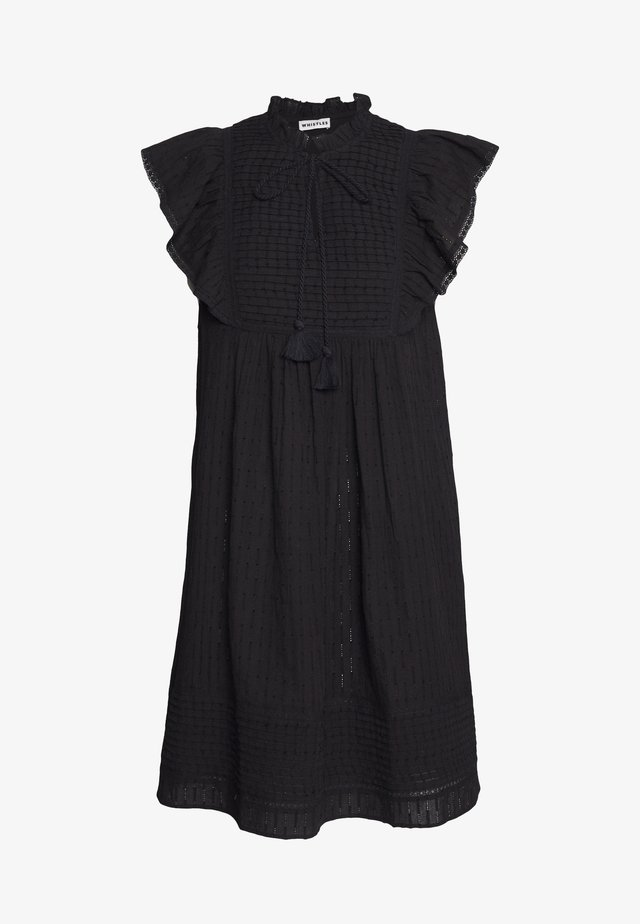 PINTUCK FRILL DRESS - Korte jurk - black