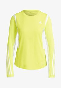 adidas Performance - OWN THE RUN 3-STRIPES RUNNING LONG-SLEEVE TOP - Long sleeved top - yellow - 2
