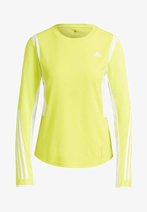 OWN THE RUN 3-STRIPES RUNNING LONG-SLEEVE TOP - Long sleeved top - yellow