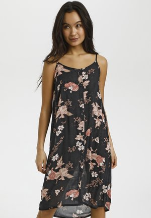 Shirt dress - black rose flower print