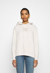 Abercrombie & Fitch - GEL LOGO SNAP POPOVER - Hoodie - cream - 0