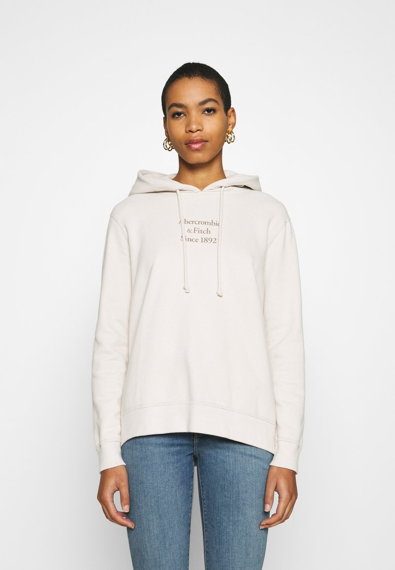 Abercrombie & Fitch - GEL LOGO SNAP POPOVER - Hoodie - cream