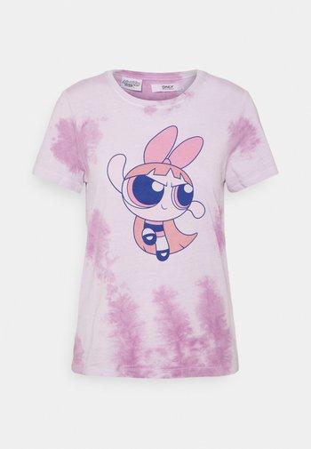 ONLPOWER PUFF - Print T-shirt - white/pink tie dye