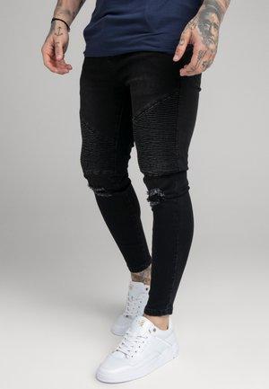 DISTRESSED BIKER - Skinny-Farkut - washed black