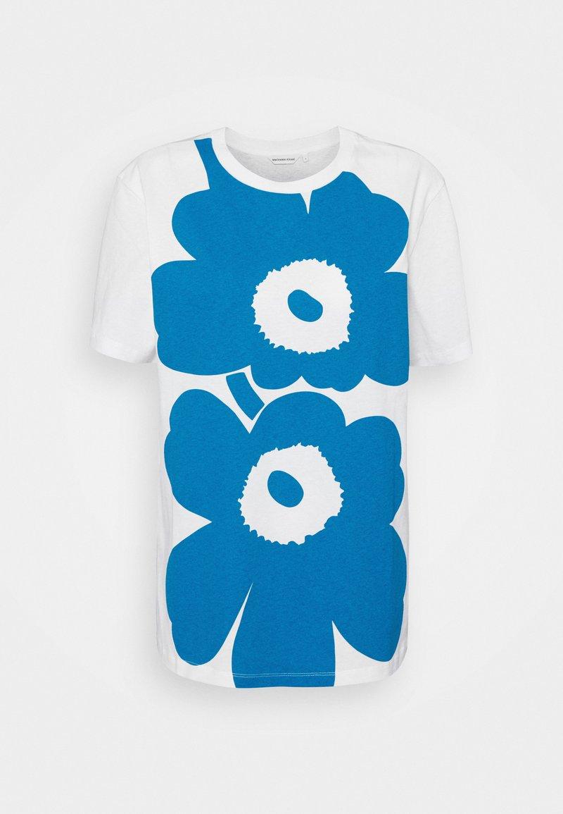Marimekko - KIOSKI LAUHA UNIKKO PLACEMENT  - Print T-shirt - white/bright blue