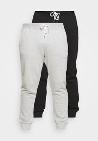 2 PACK - Tracksuit bottoms - black/mottled light grey