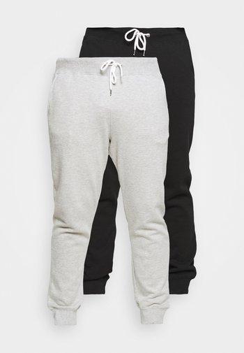 2 PACK - Tracksuit bottoms - black/mottled light grey