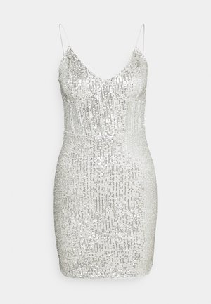 SEQUIN MINI DRESS - Vestido de cóctel - silver