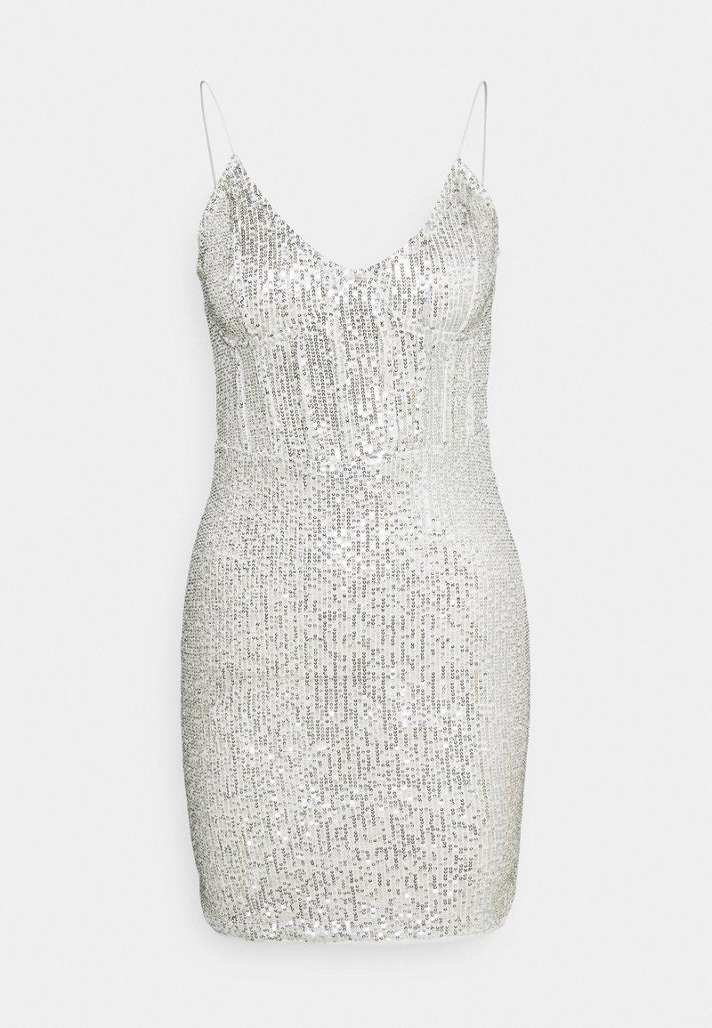 Missguided - SEQUIN MINI DRESS - Juhlamekko - silver