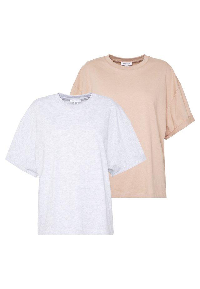 BOXY ROLL TEE 2 PACK - T-shirts basic - black/white