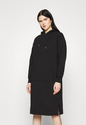 HOODIE MIDI DRESS - Day dress - black