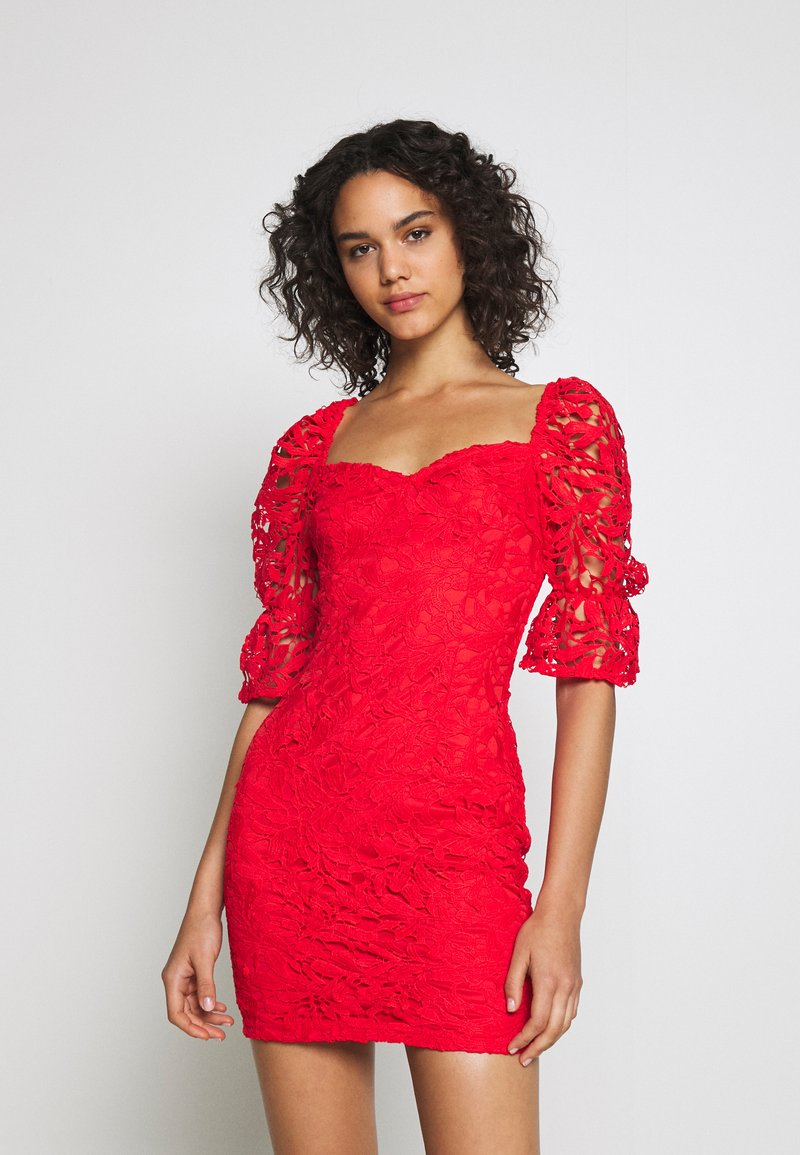 Missguided - SQUARE NECK BODYCON MINI DRESS - Sukienka koktajlowa - red