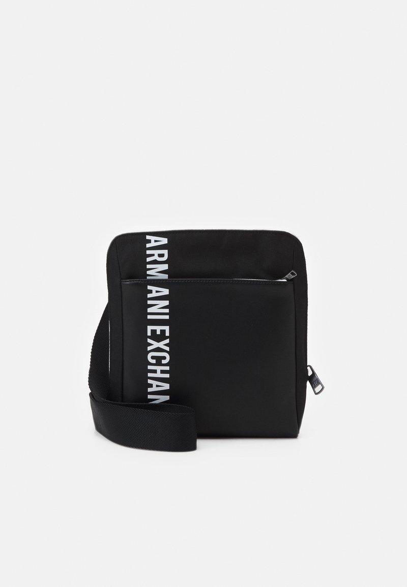 Armani Exchange - MIX CONTRAST CROSS BODY BAG UNISEX - Across body bag - black/white