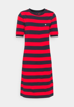 BAR STRIPED DRESS - Jersey dress - lava red