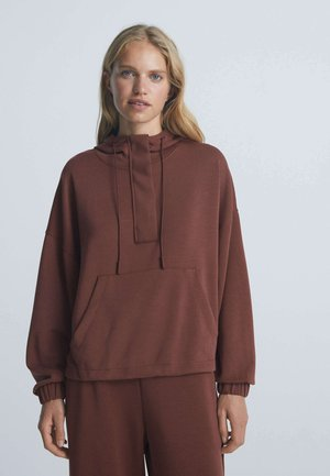 WITH LARGE FRONT POCKET  - Hoodie - bordeaux