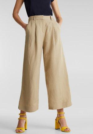 AUS LEINEN-MIX: CULOTTE MIT BUNDFALTEN - Trousers - khaki beige