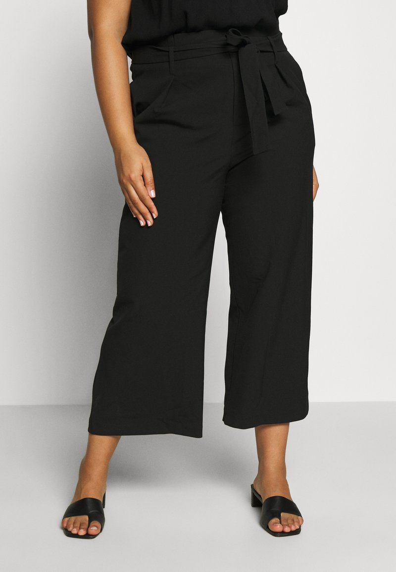 ONLY Carmakoma - CARICOLE CULOTTE WIDE PANTS - Trousers - black