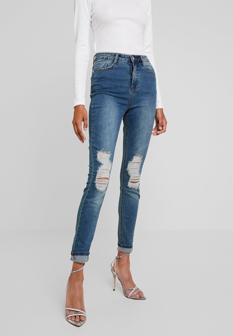 Missguided - SINNER DISTRESS KNEE CUT  - Jeans Skinny Fit - blue