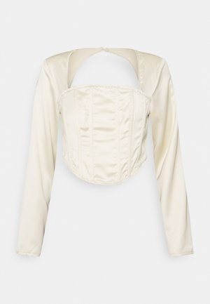 CUT OUT BACK CORSET - Long sleeved top - cream