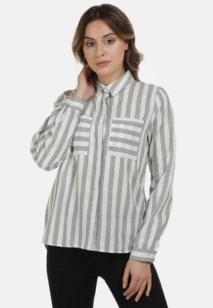 DREIMASTER BLUSE - Button-down blouse - minze weiss