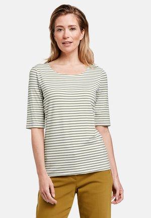 1/2 ARM GERINGELTES - Print T-shirt - grün/ecru/weiss streifen