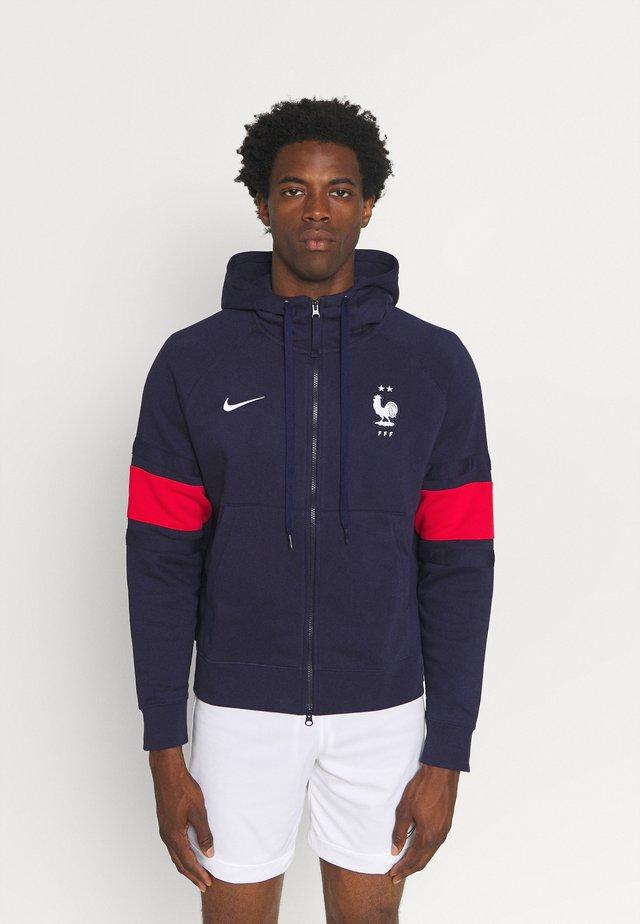 FRANKREICH FFF AIR HOOD - veste en sweat zippée - blackened blue/university red/white