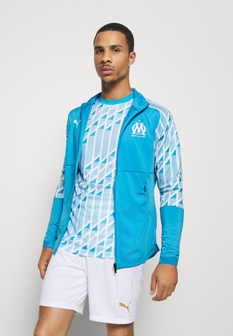Puma - OLYMPIQUE MARSAILLE STADIUM JACKET - Club wear - bleu azur/puma white