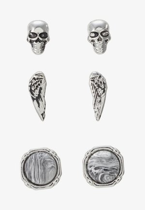 SKULL AND WING STUD 3 PACK - Náušnice - rhodium-coloured