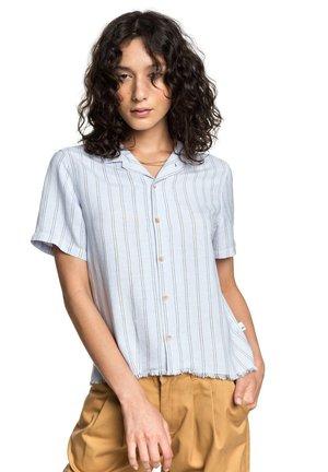 Button-down blouse - zen blue linen stripe