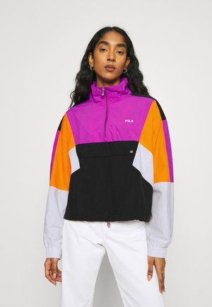 ANEKO - Windbreaker - black/bright white/purple/flame orange