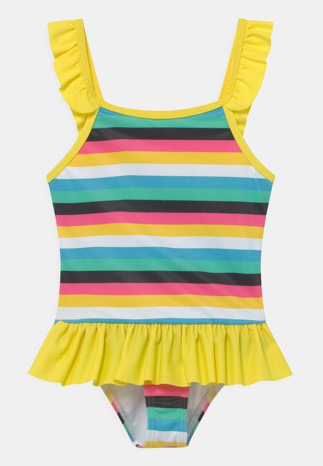 GIRLS STRIPED FRILL - Badeanzug - yellow/multi-coloured
