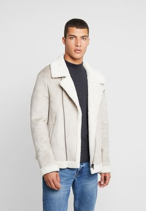 JUSTIN - Faux leather jacket - light grey