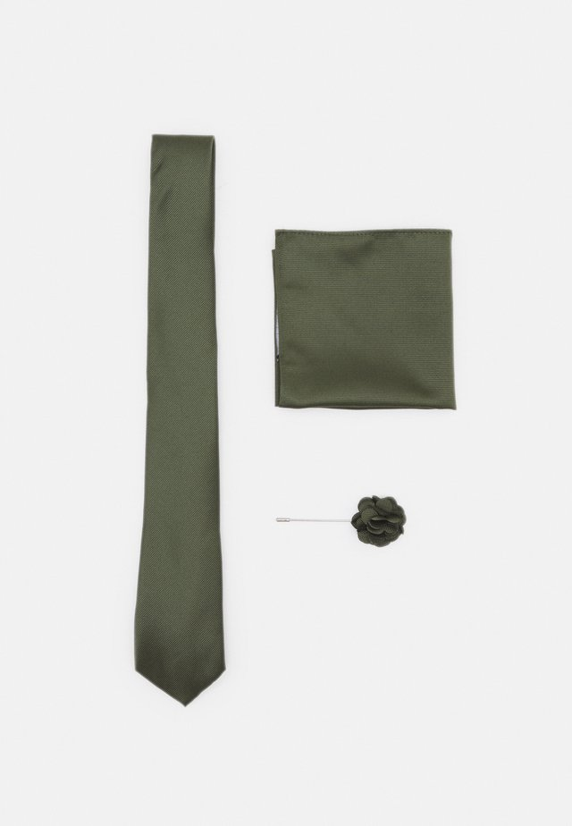 TIE POCKET SQUARE AND PIN SET - Stropdas - green