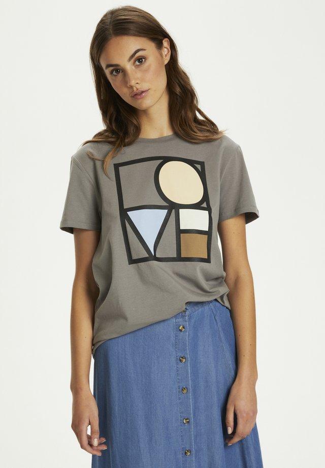 T-shirt con stampa - brushed nickel