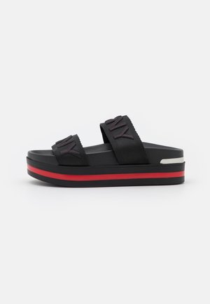 TEE DOUBLE BAND SLIDE - Heeled mules - black