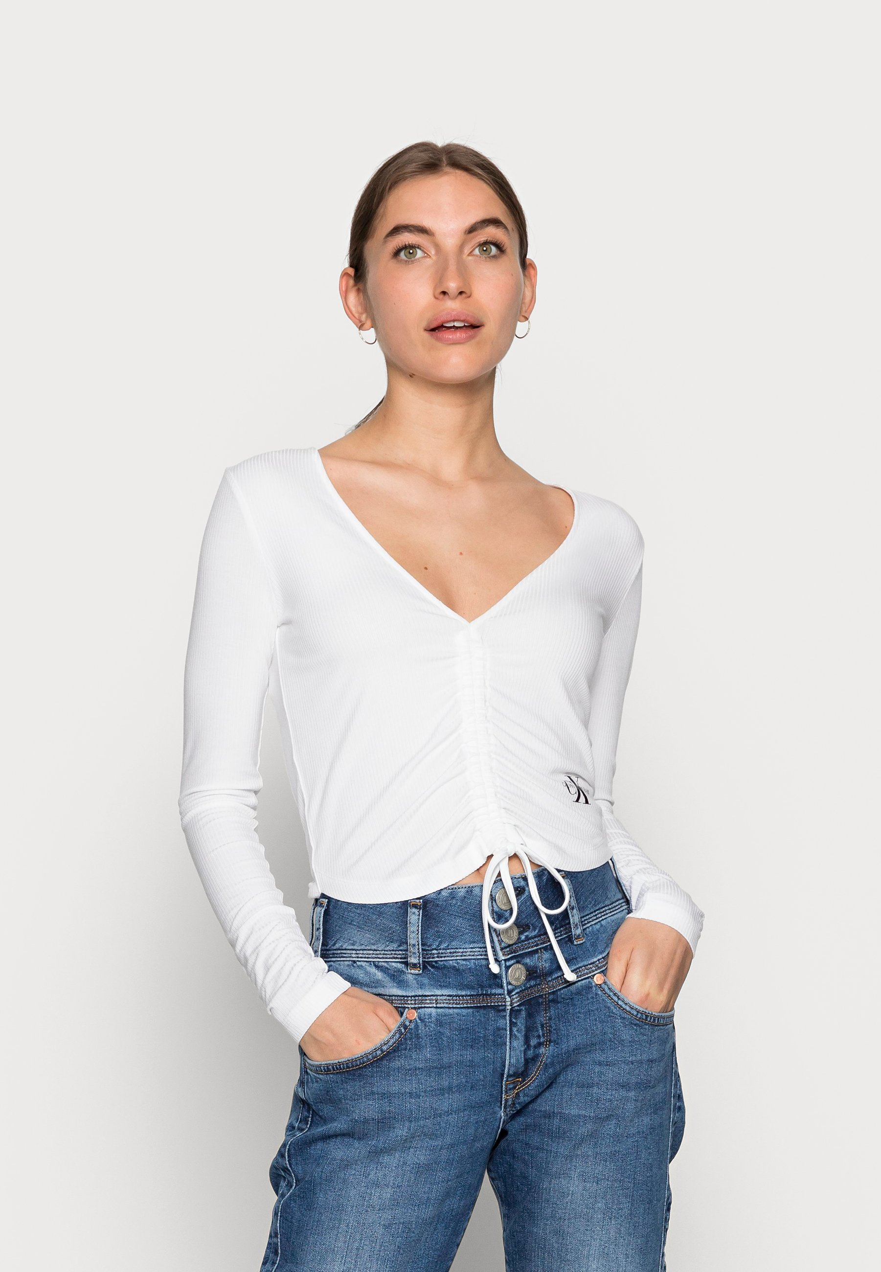 Women DRAWSTRINGS V-NECK TEE - Long sleeved top