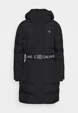 WAISTED LOGO LONG PUFFER - Talvitakki - black