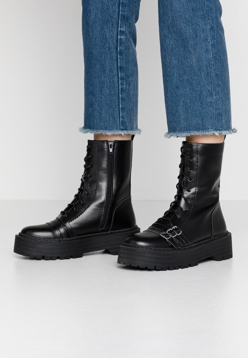 Lost Ink Wide Fit - WIDE FIT BUCKLE DETAIL CHUNKY LACE UP BOOT  - Biker-/cowboynilkkurit - black