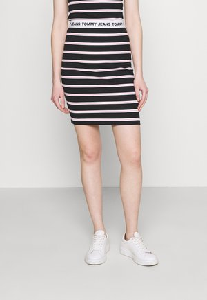 STRIPE BODYCON MIDI SKIRT - Pencil skirt - black / multi