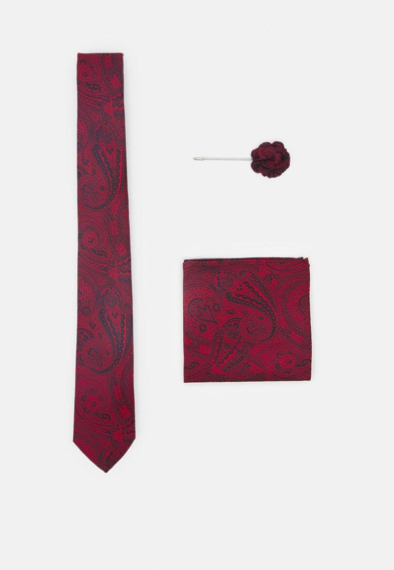 Burton Menswear London - TIE HANKIE AND PIN SET - Tie - red