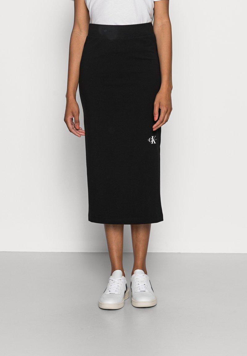 Calvin Klein Jeans - MICRO MONOGRAM KNIT TUBE SKIRT - Pencil skirt -  black