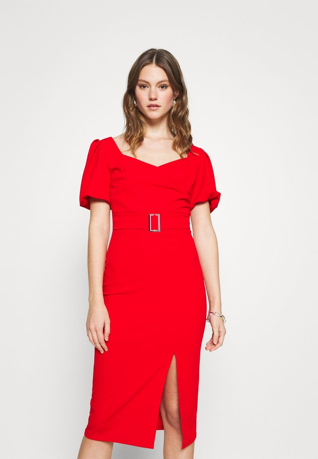 EMMA BUCKLE MIDI DRESS - Vestido ligero - red